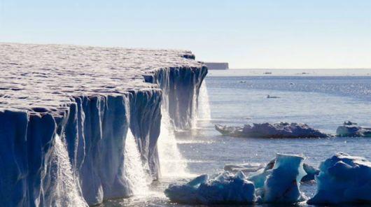 Marvelous Glacier Water Falls Svalbard, Norway Europe