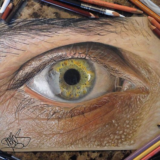 Unbelievably Realistic Eyes Drawn Using Just Colored Pencils