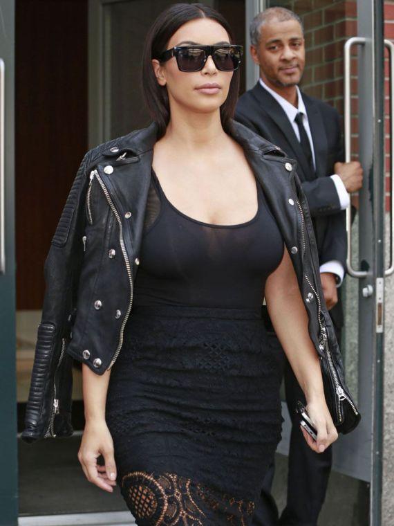Miss Kardashian In Black Leather Jacket In New York City
