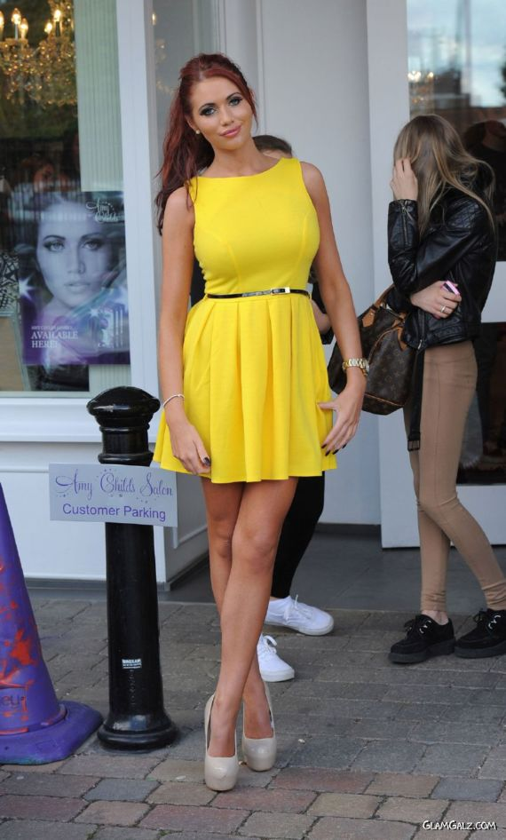 Amy Childs Outside Her Salon In Brentwood