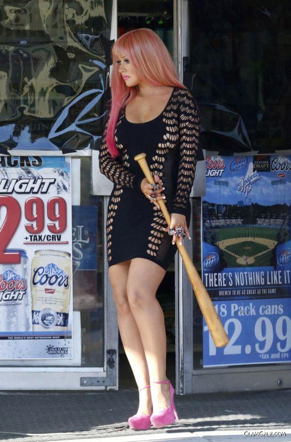 Christina Aguilera At A Music Video Set In LA
